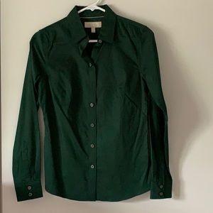 Banana Republic dark green button down blouse